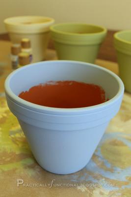 Painted terra cotta flower pot