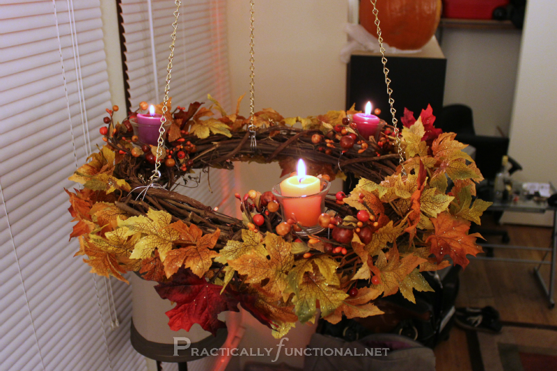 Simple Hanging Fall Wreath Chandelier Tutorial Practically