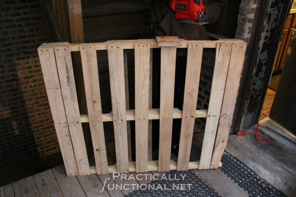 DIY Rustic Pallet Shelf Tutorial from PracticallyFunctional.net | Start with a pallet
