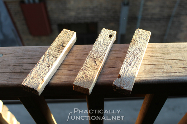 DIY Rustic Pallet Shelf Tutorial from PracticallyFunctional.net | Spacers