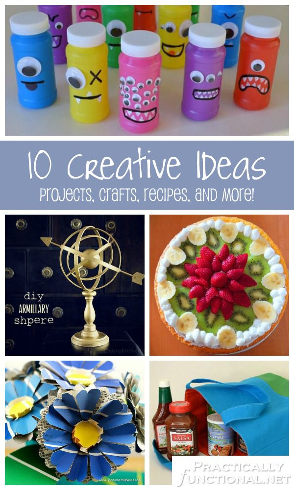 10 Creative Ideas: Projects, Crafts, Recipes, and more! A roundup from PracticallyFunctional.net