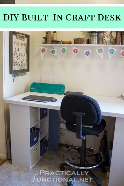Make your own built-in craft desk with a door and cube storage shelves!