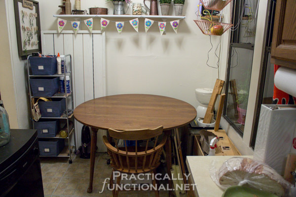 Make your own built-in craft desk with a door and storage cube shelves! Stop using your dining table for crafting! :-)