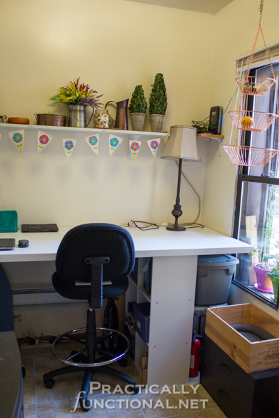 Make your own built-in craft desk with a door and storage cube shelves!