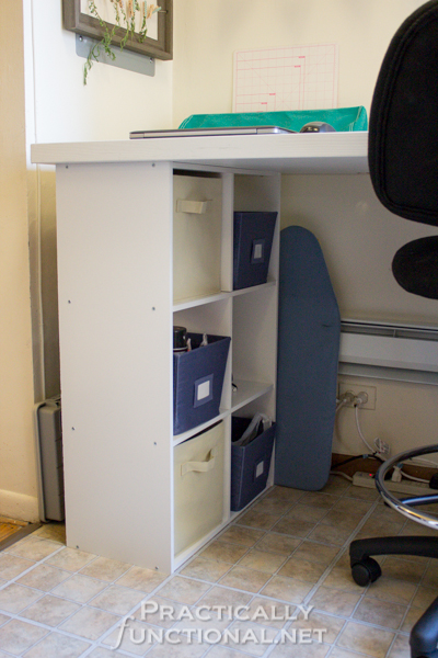 Make your own built-in craft desk with a door and storage cube shelves - Use the cubes to store craft supplies and materials