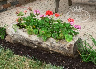 Making a Log Planter for Flowers from A Proverbs 31 Wife