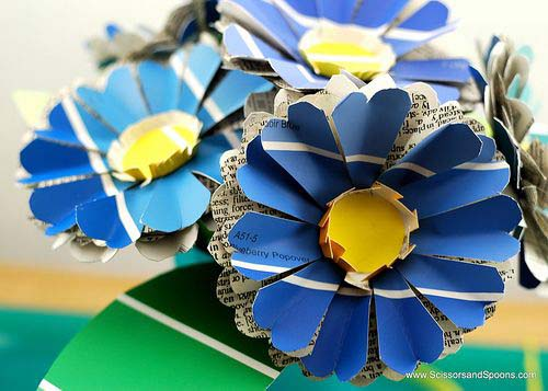 DIY Paper Flowers & Leaves from Scissors And Spoons