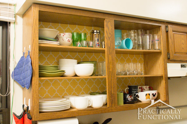 Kitchen Tour: Decorate inside your cabinets with wallpaper!