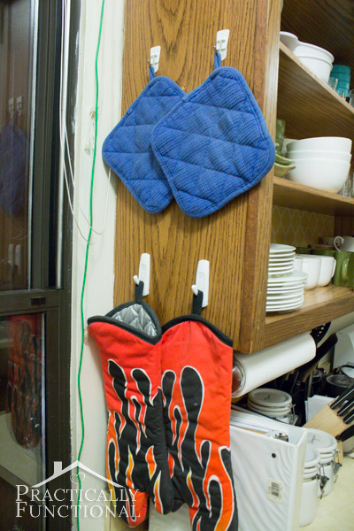 Kitchen Tour: Store hot pads on the side of your cabinets to free up drawer space