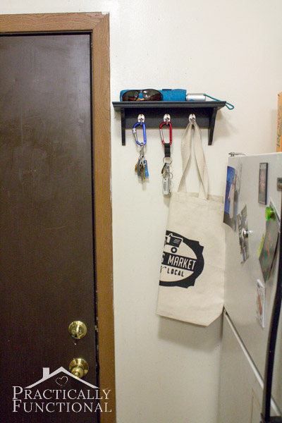 Kitchen Tour: Add a small shelf and some hooks near the door to store keys and sunglasses