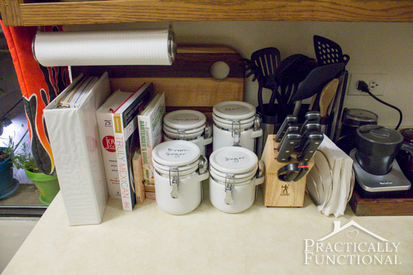 Kitchen Tour: If you have to use your counter space to store things, at least keep it neat and tidy so your tools are easy to access!