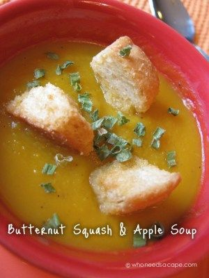 Butternut Squash and Apple Soup from Who Needs A Cape