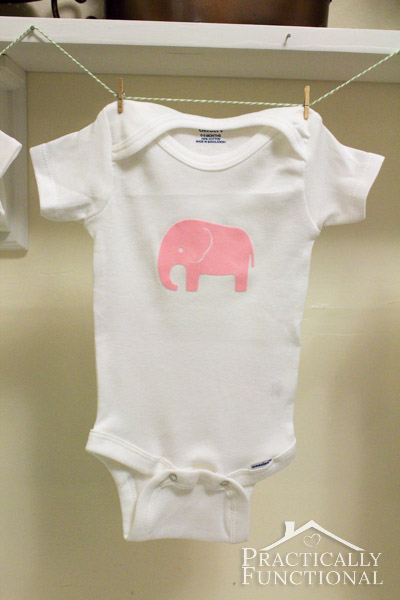 Virtual Baby Shower: DIY Baby Animal Graphic Onesies - Pink elephant