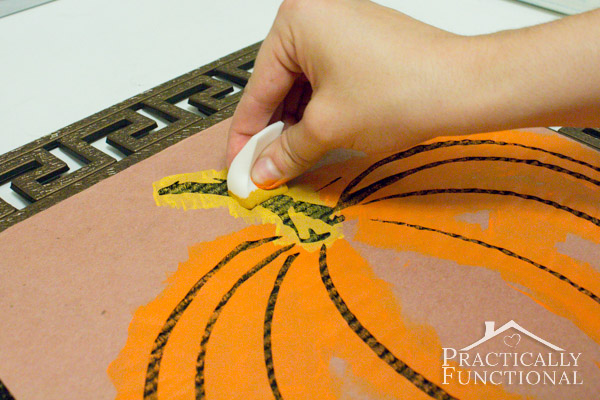 DIY Stenciled Fall Welcome Mat: Use a makeup sponge to gently dab paint onto the stencil so the paint doesn't bleed under the edges