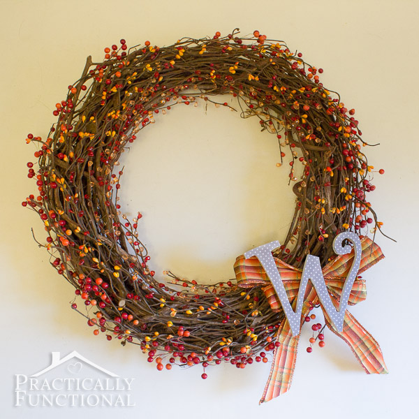 Diy Monogram Fall Wreath: DIY Fall Monogram Wreath