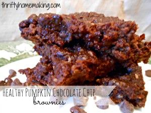 Healthy Pumpkin Chocolate Chip Brownies from Thrifty Homemaking