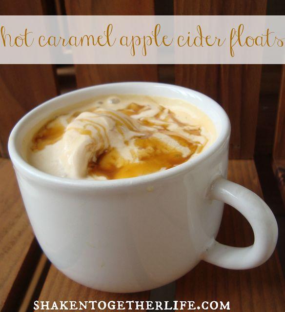 Hot Caramel Apple Cider Floats from Shaken Together