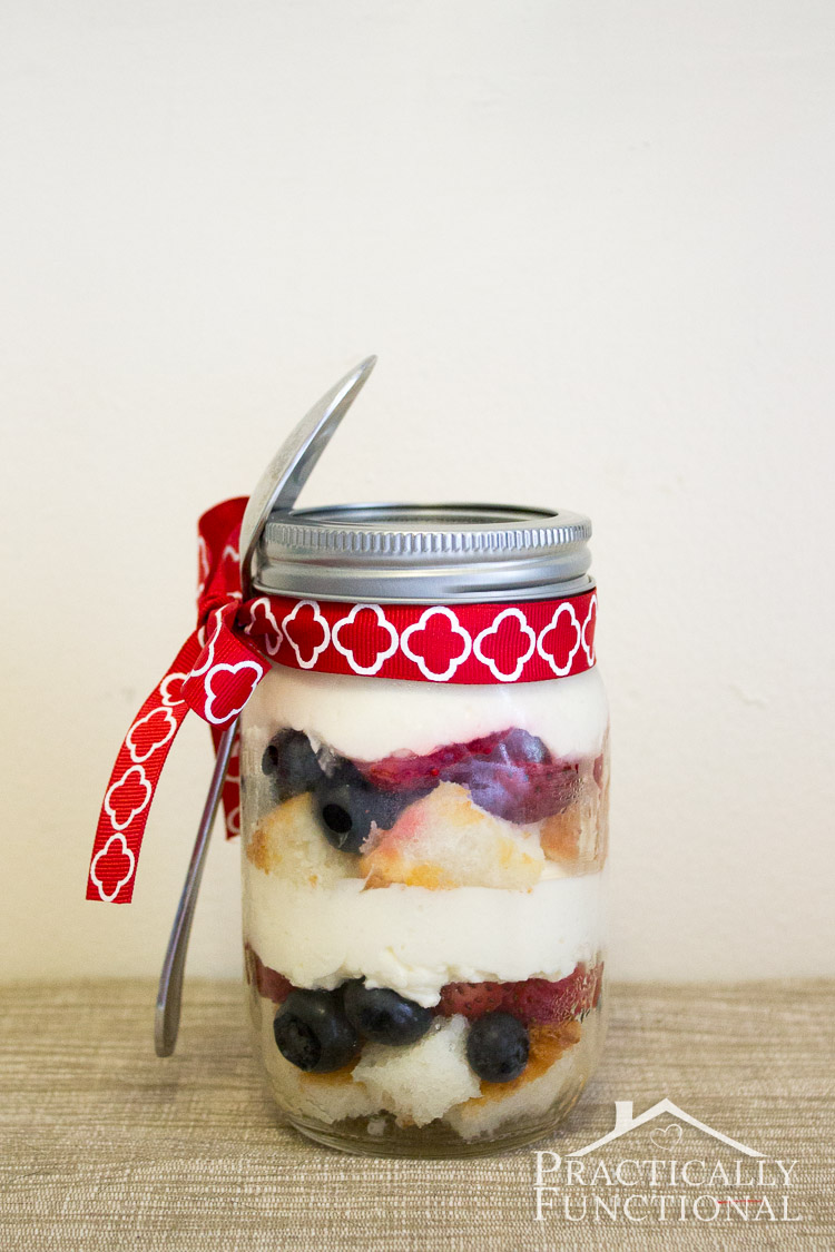 Serve trifle in mason jars to get easy individual servings. Just tie a spoon to the jar with a ribbon, and serve!