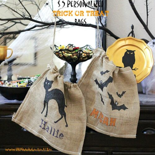 $5 Personalized Burlap Trick or Treat Bag from The Pinning Mama