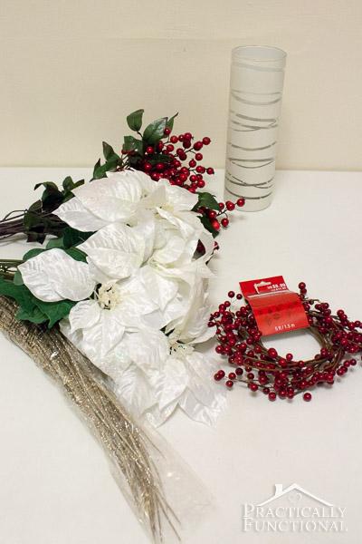 DIY Elegant Winter Poinsettia Centerpiece - Supplies