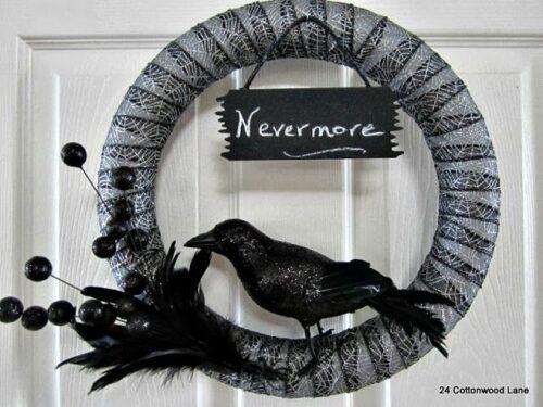 Nevermore Halloween Wreath from 24 Cottonwood Lane