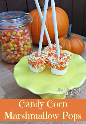 Pumpkin Dipped Marshmallow Pops from Juggling Act Mama