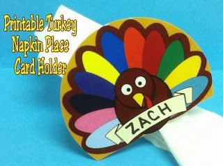 Thanksgiving Turkey Napkin Place Card Printable from Kim's Kandy Kreations