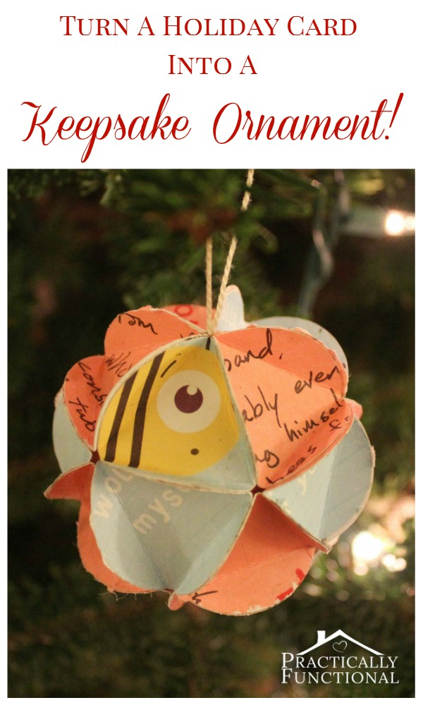 turn holiday cards into keepsake ornaments