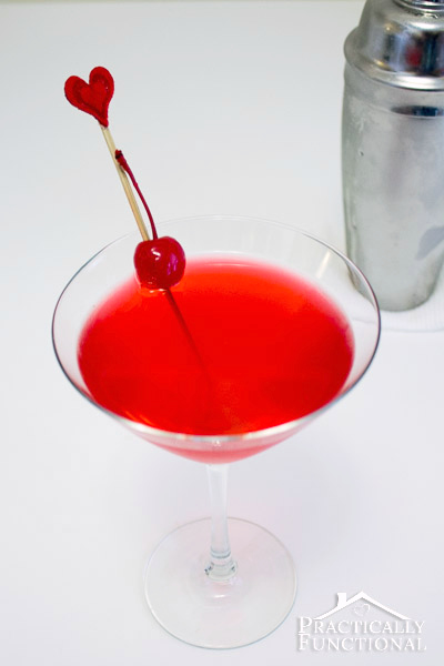 Cupid's Broken Arrow is one of my favorite Valentine's Day cocktails! All you need is vodka, Triple Sec, cranberry juice, lime juice, and a cherry!