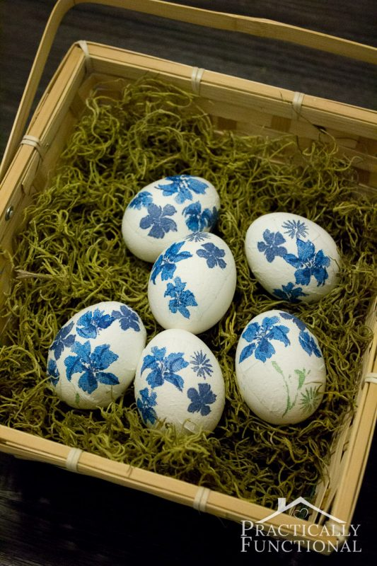 Decorate Easter eggs with paper napkins and mod podge