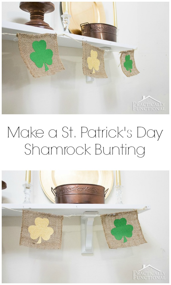 Make a St. Patrick's Day shamrock bunting in just a few minutes with this simple tutorial!