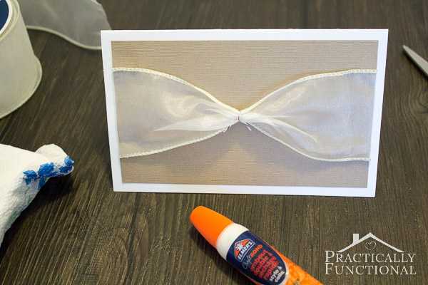 "Make your own DIY ""love"" wedding card with ribbon and vellum!"