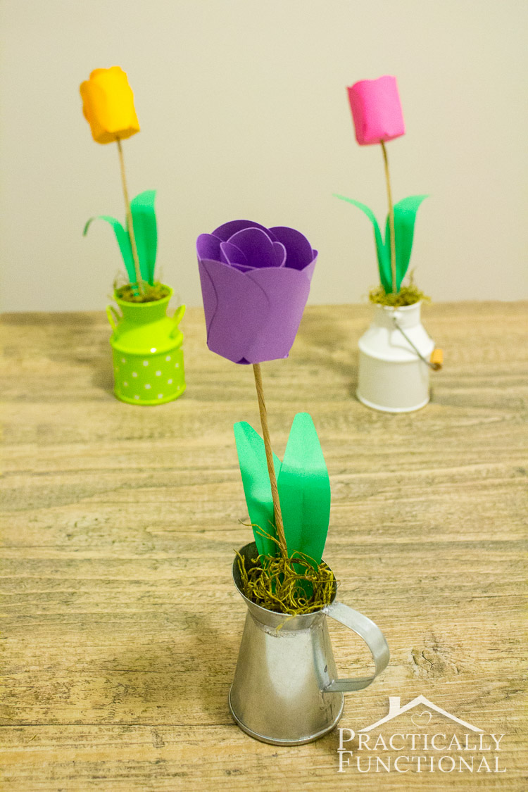 Learn How To Make Paper Flowers - These 3D paper tulips make the perfect centerpiece or decoration for any occasion!