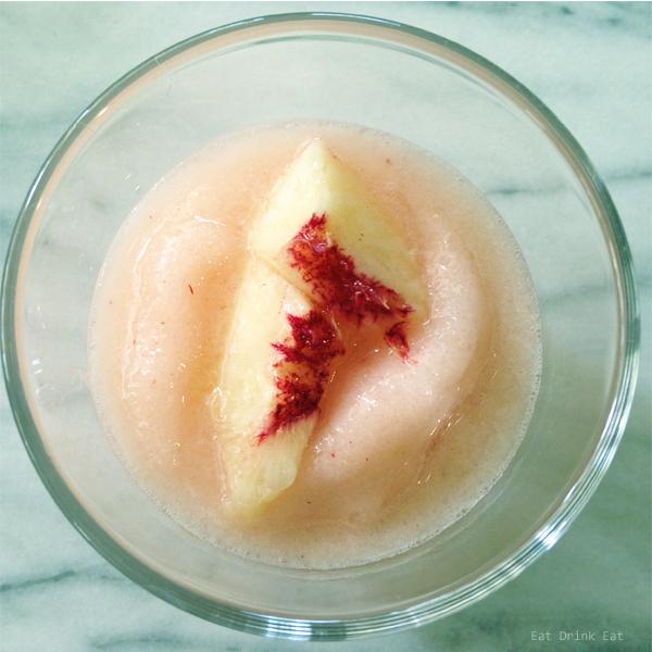 The best blended peach lime margarita from EatDrinkEat.com