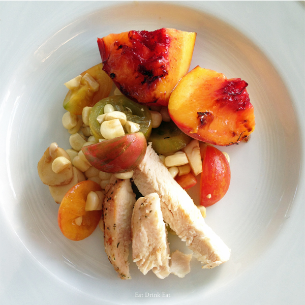 Grilled Chicken Peach Tomato and Corn from EatDrinkEat.com blog