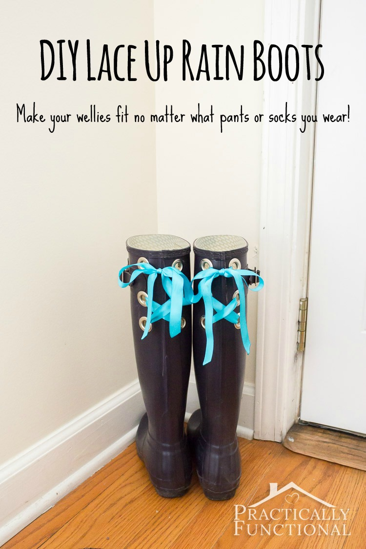 3f389ee00ea8 DIY lace up rain boots! So your wellies fit over your calves no matter what