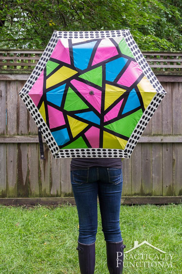 Love this idea! Just add paint to turn a boring umbrella into a neon color block umbrella!