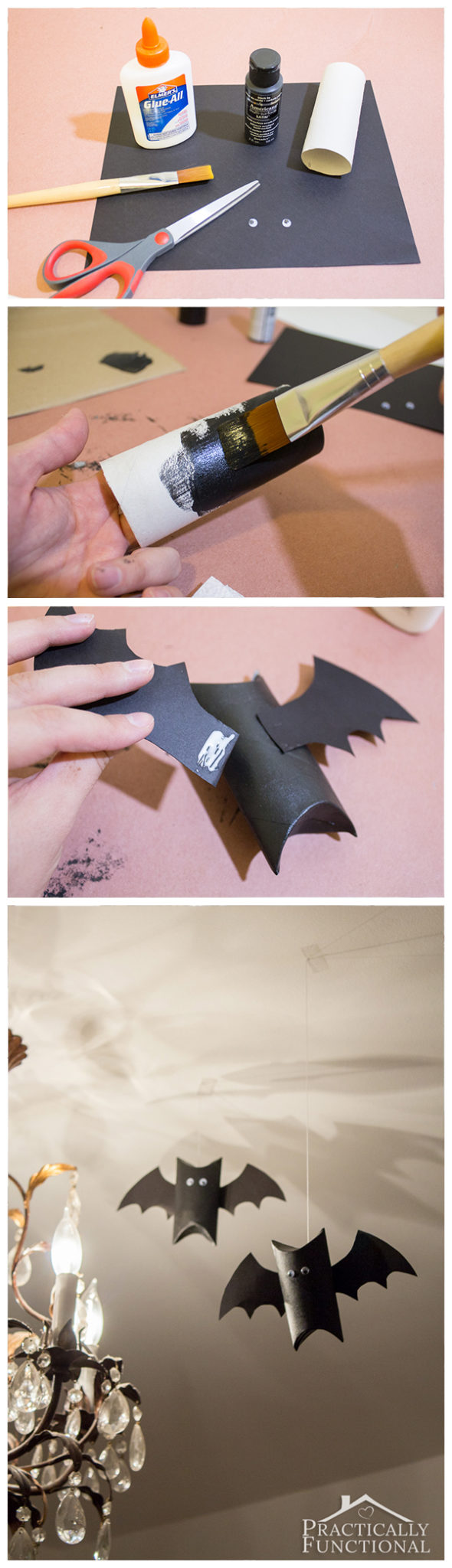 Turn empty cardboard tubes into super cute bat decorations for Halloween!
