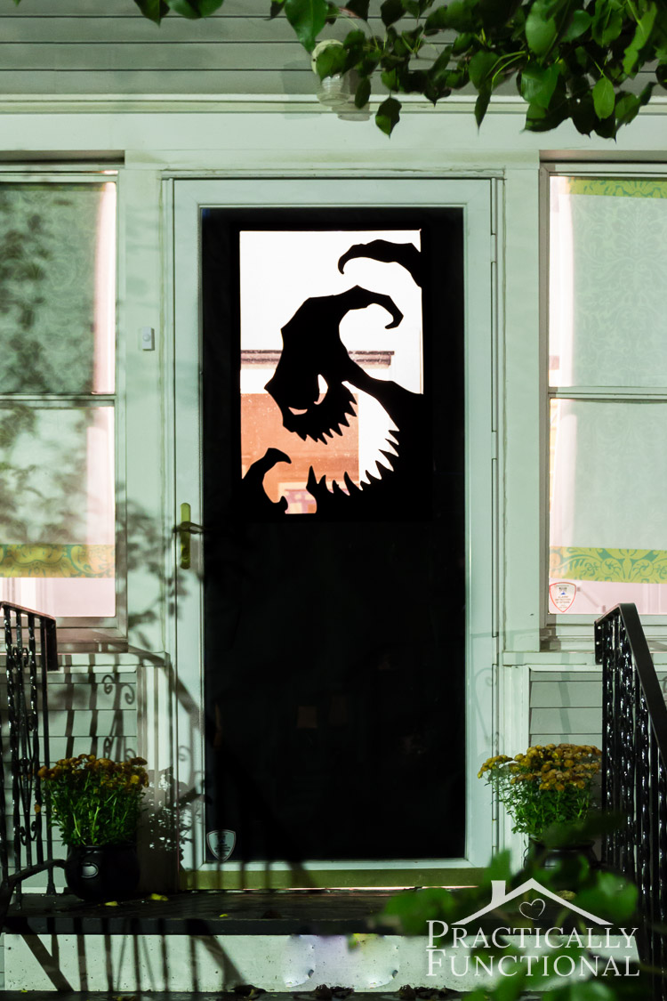 make your own halloween door decorations with vinyl a spooky oogie boogie silhouette is the save its oogie boogie from nightmare before christmas