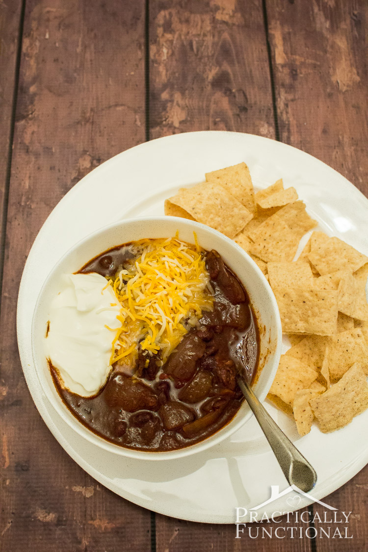 Slow Cooker Black Bean Chili Recipe! No need to pre-soak the beans!