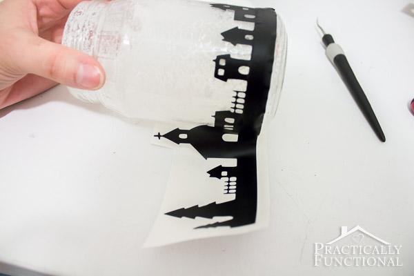 DIY Snowy Silhouette Candle Jar-11