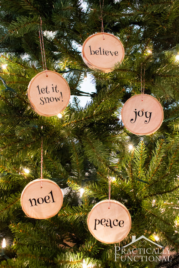 make your own wood slice ornaments use wood slice coasters from a craft store if