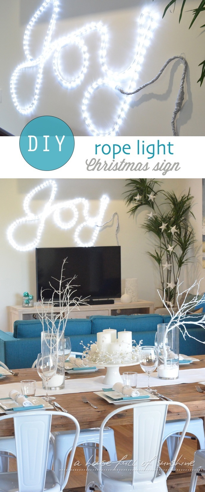 DIY rope light Christmas sign by A house full of sunshine for Practically Functional