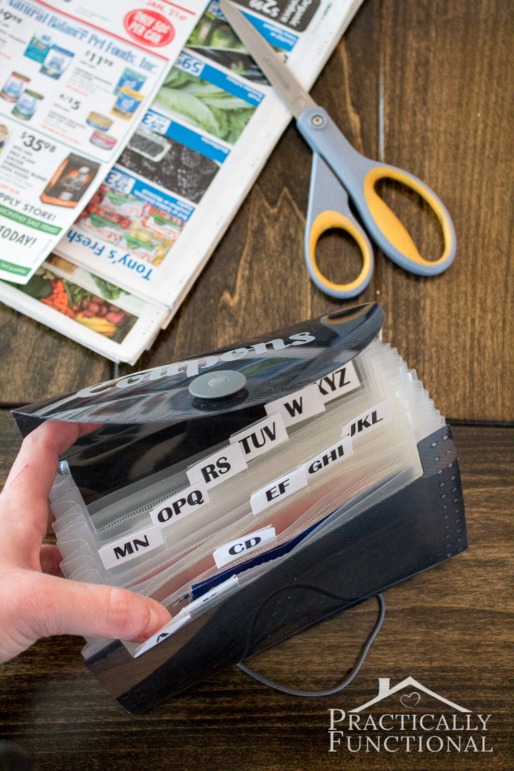 Turn a dollar store expandable file into a super simple coupon organizer to help you get organized and save money!
