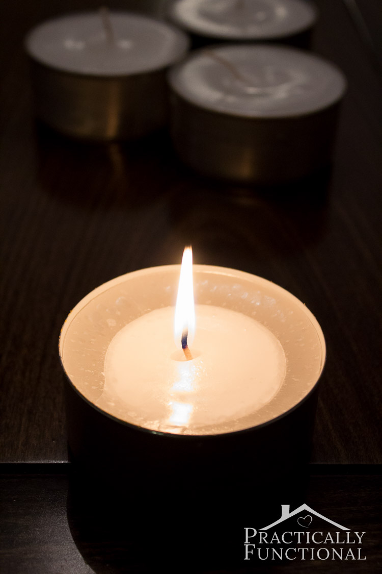Fill empty tin cans with candle wax and a wick to make quick and easy emergency candles! Great addition to your emergency kit in case of blackouts!