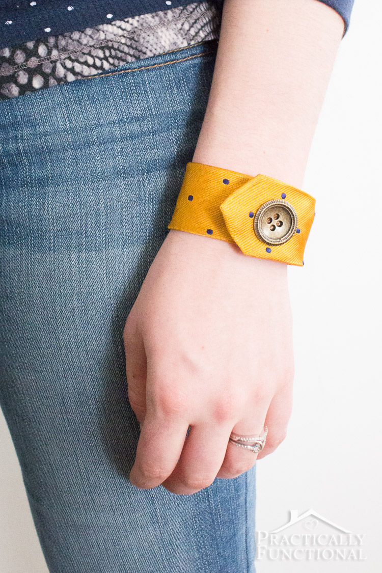 Recycle an old tie into a tie bracelet in just a few minutes! No sewing required!
