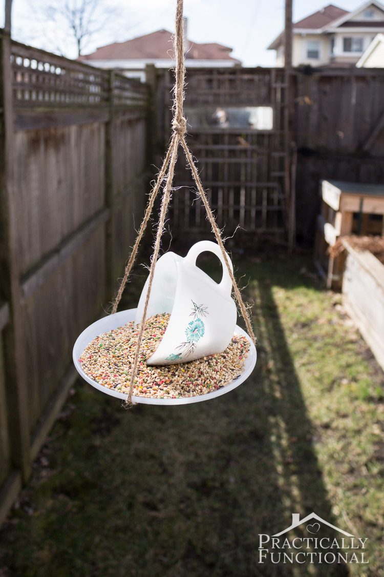 Make your own teacup bird feeder in just a few easy steps! All you need is a teacup, a saucer, glue, and twine for hanging!