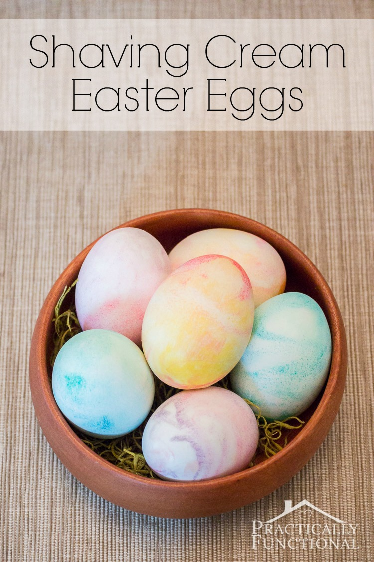 Dye Easter eggs with shaving cream and food coloring! Great kid's craft because it's simple, fun, and a little messy!