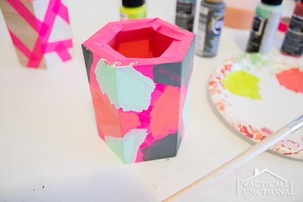 DIY Color Block Pen Holders-9