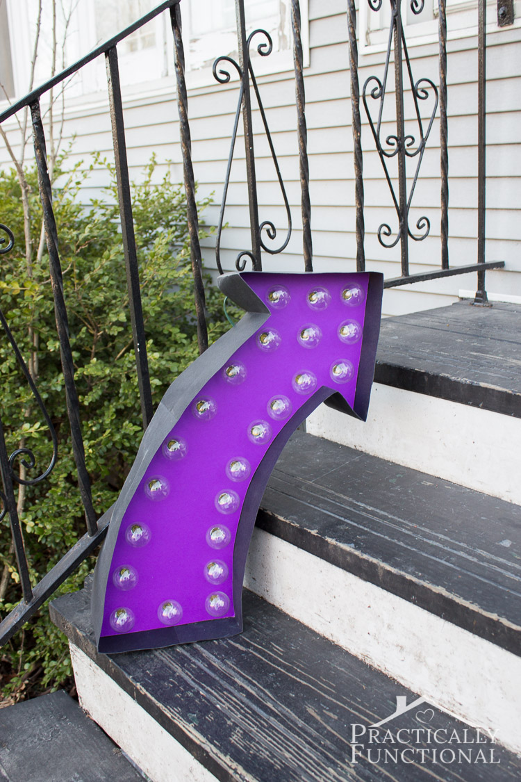 Make your own lighted marquee sign with this step by step tutorial! You can make  an arrow, letters, an ampersand, or any other shape you want!